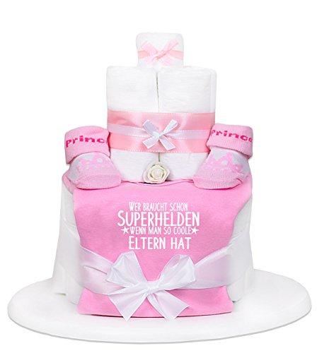 Trend Mama Windeltorte Mädchen rosa Babybody Gr.50/56 Wer braucht schon Superhelden wenn man so coole Eltern hat