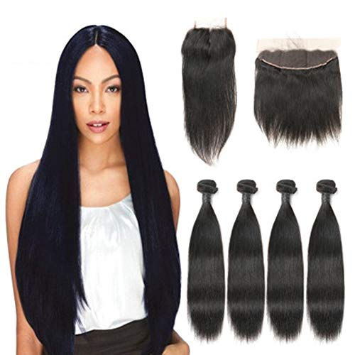 Brasilianischen Tanz Karneval Kostüm - Smilewx Hair Brazilian Straight Hair 3 Bundles with Closure 9A Unprocessed Brazilian Virgin Hair with Free Part Closure for Black Women Natural Color,22inchhaircurtain9A