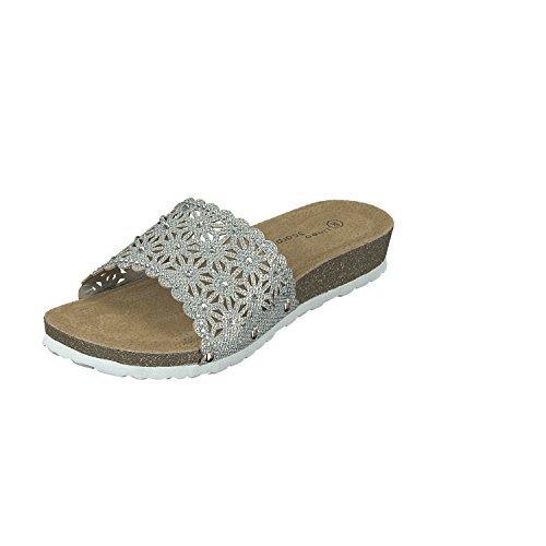 Linea Scarpa Genua Pantolette Damen Korkoptik Extra-leicht mit Absatz: Größe: 39 | Farbe: Silber