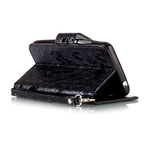 Nancen Huawei Y3 II / Y3 2 (4,5 pouces) coque Haute Qualité PU Cuir Flip Étui Coque de Protection Wallet / Portefeuille Case Cover Housse - Avec Carte de Crédit Fente, Fermeture Magnétique, Protection schwarz