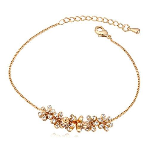 Adisaer Vergoldet Damens Fußkettchen Blume Gruppe Cubic Zirconia Einstellbar Armband Fuß Schmuck