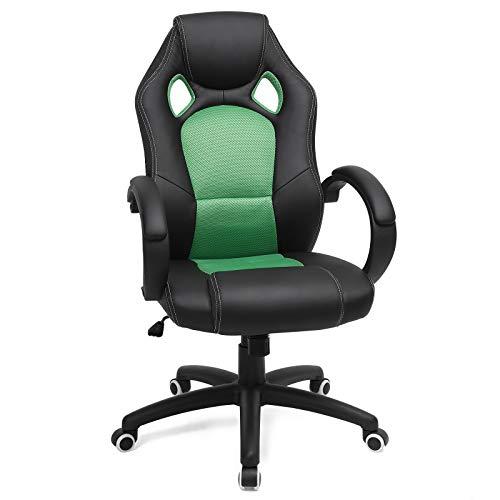 SONGMICS Racing Stuhl Bürostuhl Gaming Stuhl Chefsessel Drehstuhl PU Schwarz-Grün OBG56BJ