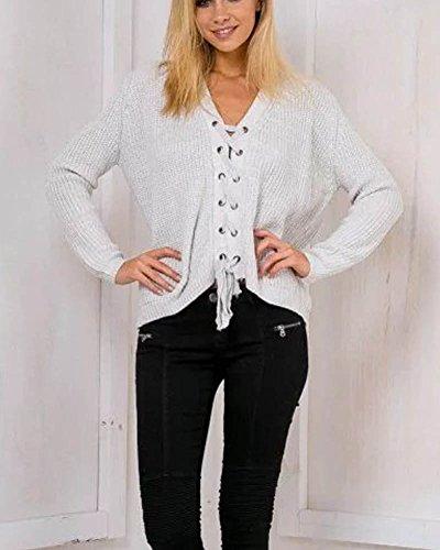 SaiDeng Knit Lace Up Top Pull Sweatshirt T-Shirt À Manches Longues Femme Gris