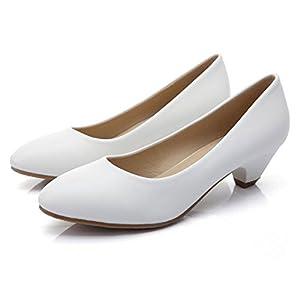AJUNR Modische/Arbeit/Damen/Sandaletten 3 cm im frühjahr und Herbst komfortabel flachem Absatz Frauen einzelne Schuhe Schuhe weiße nahe bei Sharp Damenschuhe