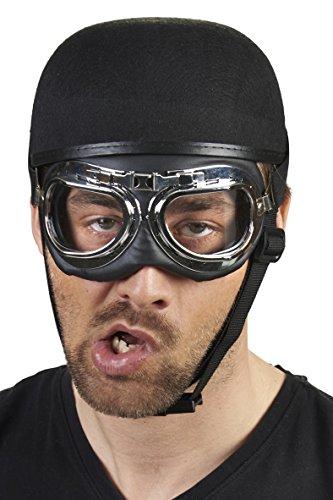 Andrea-Moden Biker-Brille in Silber/Schwarz | Einheitsgröße Erwachsene | -