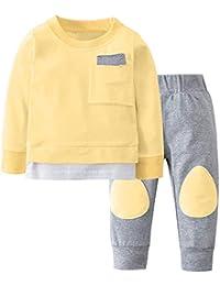 Mitlfuny Invierno Primavera Unisex Camisetas Ropa Bebé Niños Sudaderas de Manga Larga Color Sólido Pespunte Recién Nacido Interiores Jerseys Tops + Pantalones de Parche Conjunto Niño 0-24 Meses