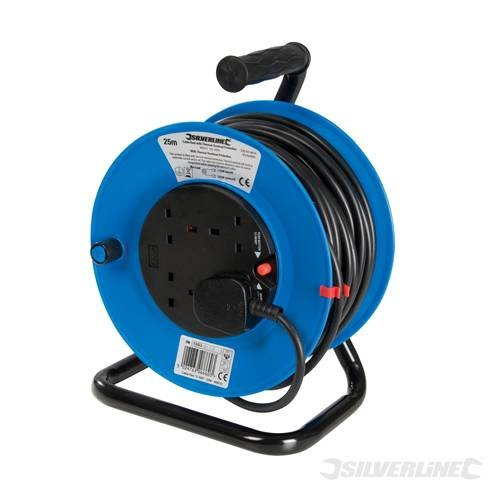 Solid Wind (Power Tools Lighting and Power Cable Reel 240V Freestanding 13A 25m 4 Socket Thermal overload with power reset button. Easy wind handle. Solid stable base. 4 Sockets. Maximum load 13A. by SILVERL)