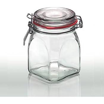 Cap+Cro - 4 Stück Drahtbügelgläser 634 ml, mit rotem Gummiring und ...