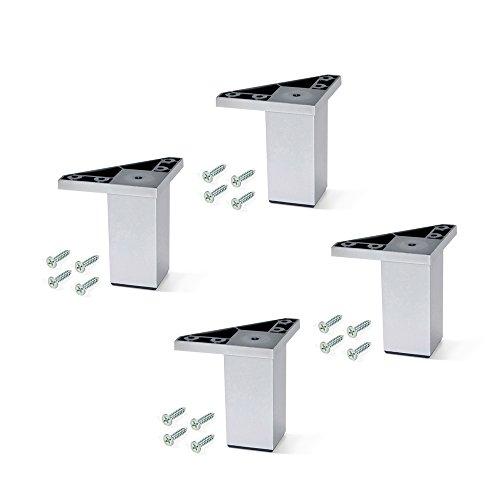 Emuca 2039625 Set aus 4 Füßen mit Montageschrauben für Möbel/Schrank/Bett aus Aluminiumfarbenem Kunststoff, 80 mm (Vier Pfosten-bett)