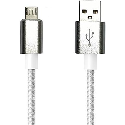1.5m MicroUSB a USB de alta velocidad | Cable cargador y de datos | Cable de carga rápida con sección especialmente grande de 4,4 mm | Contactos recubiertos de oro 24 k | para Android, Samsung, HTC, Motorola, Nokia, LG, HP, Sony, Blackberry y más