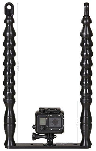 GoPro Unterwasser Licht Halterung Actionkamera Tray Alu-Schiene, 2 Stativ Gewinde, 2 Handgriffe, Flexarm & YS-Adapter, schwarz 1 Stück