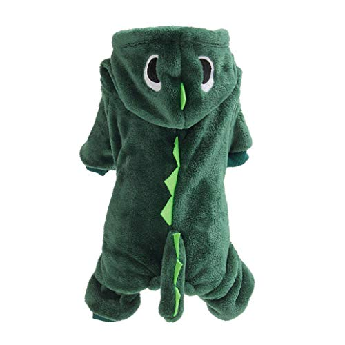 illuMMW Dog Accessories,, Pet Dinosaur Costume, Halloween Dog Dinosaur Transfiguration Costume Puppy and Cat Coat Winter Jacket Warm Funny Dress Up Dark Green M