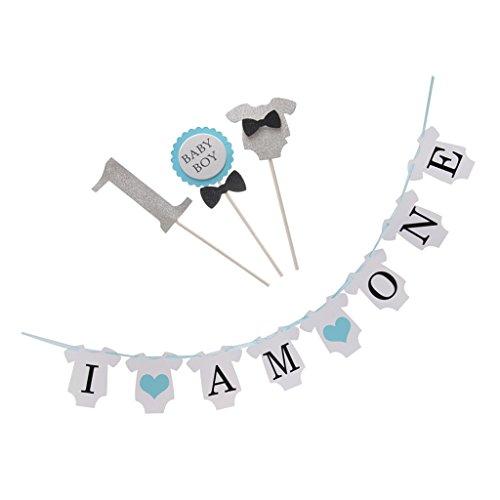 LOVIVER Lovely 1 Buchstabe Baby Kleidung Kuchen Topper Banner 1. Geburtstagsfeier - Blau (Banner Kuchen-topper Geburtstag)