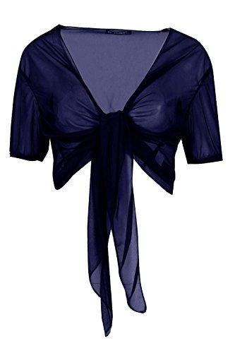 être Jaloux pour femme à manches courtes See Thru Cardigan pour femme ouvert à l'avant Cravate Nœud extensible Mini Boléro Bleu Marine