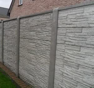 Betonzaun Steinmotiv Grau Inkl Betonpfosten 12x12x255cm