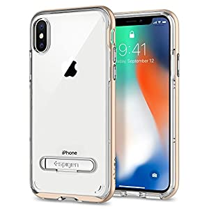 iPhone X Case, iPhone 10 Case, Spigen® [Crystal Hybrid] iPhone X Case Cover with Water-Mark Free TPU and Magnetic Metal Kickstand for iPhone 10 (2017) - Champagne Gold - 057CS22145
