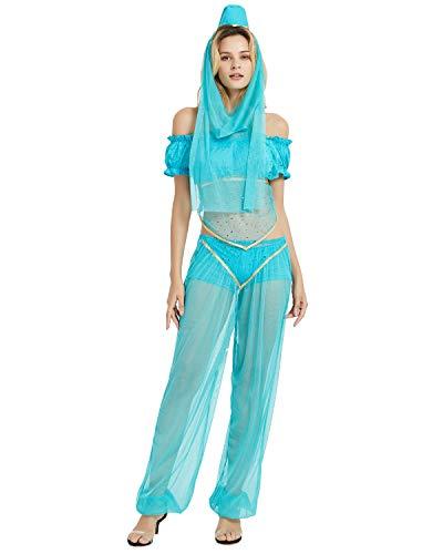 Quesera Damen Prinzessin Jasmin Kostüm Set Aladdin Arabische Haremhose Halloween Outfit - blau - Etikettengröße 4XL = US 3XL