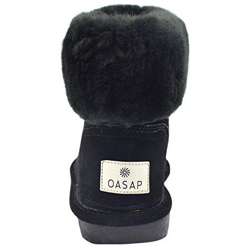 Oasap Femme Classique Boucle Turned-Over Bord Hiver Bottes Fourées Black