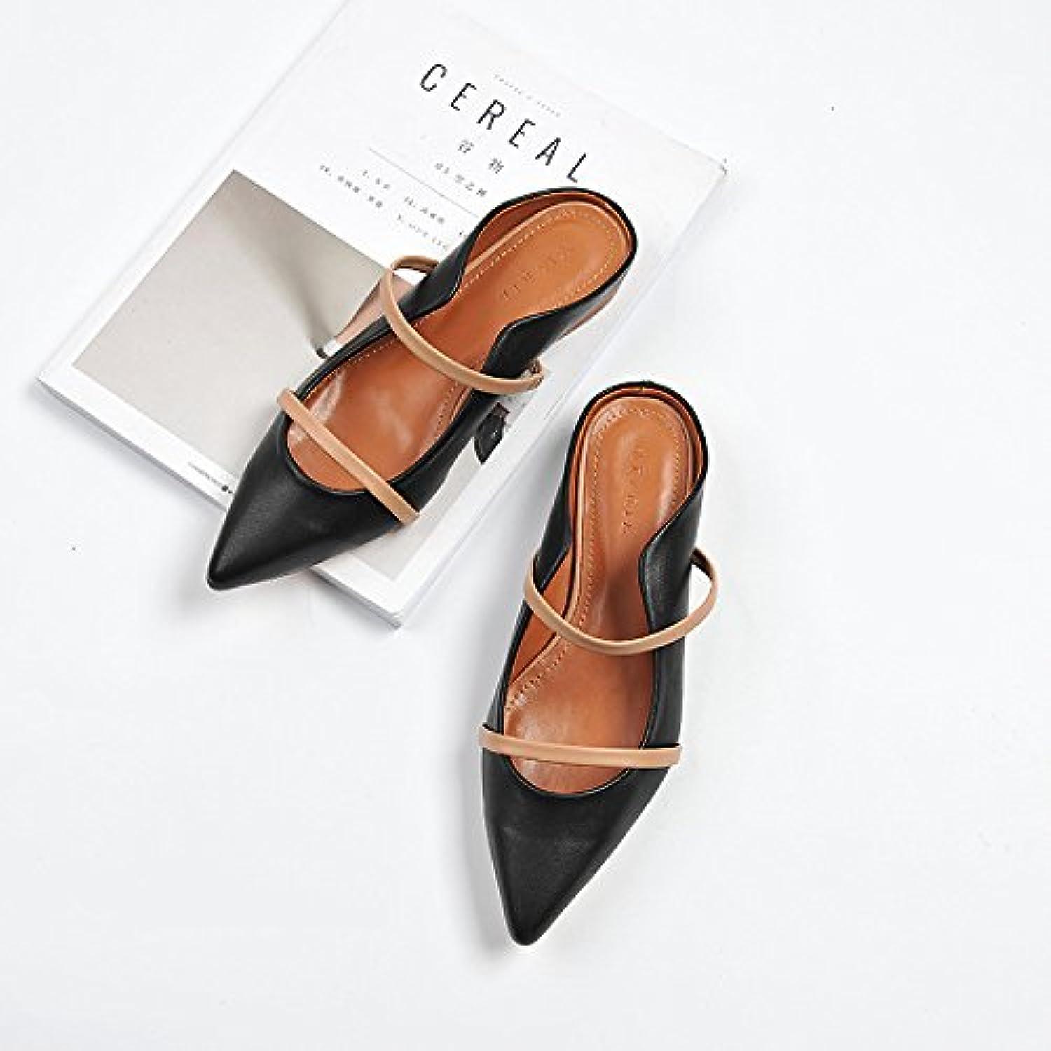 Bajo y zapatos de mujer dama luz de Punta Banda Müller elegante y versátil femeninos, recubiertos de cuero negro 39