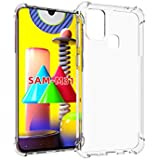 For Samsung Galaxy M31 Case, [Bumper] Exculsive Silicon Transparent With Anti Dust Plugs Shockproof Slim Back Cover Case For