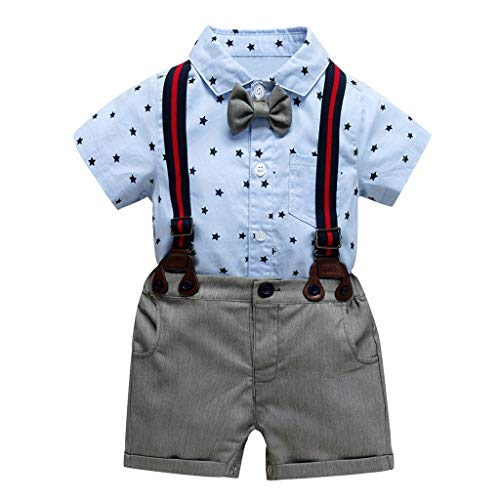 Baby Jungen Bekleidungsset Twins Waselia Baby-Jungen Bekleidungsset, Baby-Jungen Bekleidungssets Strampler, Kleinkind Baby Boy Kinder Gentleman Stars Bow Tops T-Shirt Feste Kurze Hosen Outfits (Toddler Boy Clown Kostüm)