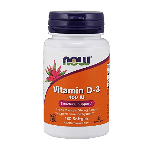Now Foods, Vitamin D-3, strukturelle Unterstützung, 400 IE, 180 Kapseln