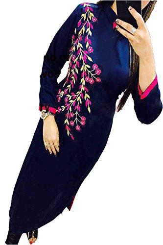 Rudra Fab Georgette Semi-Stitched Kurti(Selfie-49_Navy Blue_Free Size)
