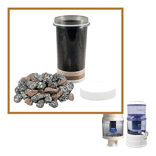 Nikken Aqua Pour 1 Filterkartusche + 1 Mikro-Schwamm-Vorfilter + 1 Mineralsteine - 1361 + 1362 + 1386 Advance Ersatz für Gravity Wasserfilter Reiniger System 1360 - PiMag Wassersystem -