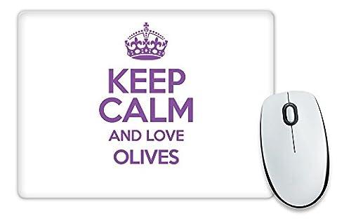 Violett Keep Calm und Love Oliven Mauspad TXT 2714