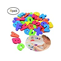mxdmai Puzzle Bath Toys Stick-on Foam Letters & Numbers Bathtub Educational Toy for Baby Kids Shower