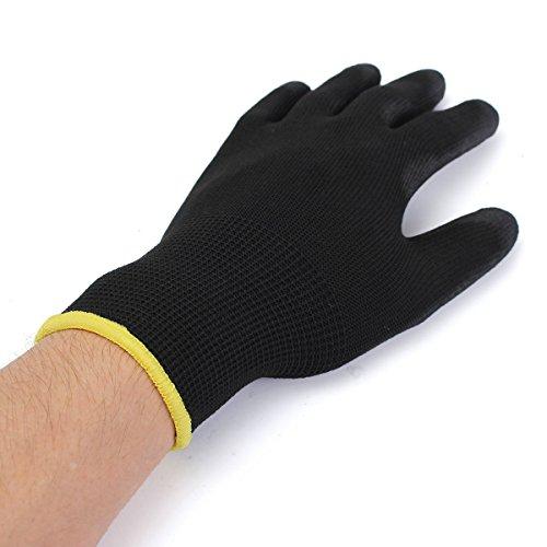 DyNamic 12 Pares Negro Pu Seguridad Trabajo Guante Constructores Proteger Palm Recubrimiento Guantes S/M/L Opción - L