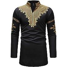 IZHH Herren Mode-Shirt, FrüHjahr Und Winter Luxus Herren Hemden Slim Fit  Afrikanischen Print c1a26de6a3