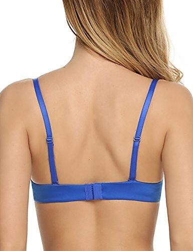 Ekouaer Sexy Damen BH Push-Up Bra mit Bügel V Büstenhalter ohne Einlagen Blau