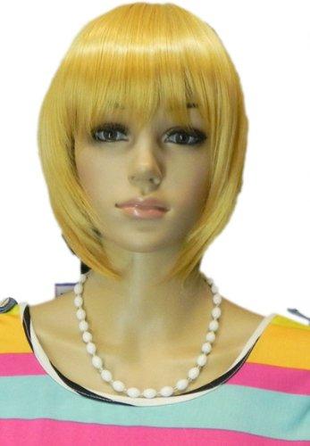 men Perücken Kind Mädchen Hitzebeständig Lange Gerade Pferdeschwanz Blonde Haare Gelb Anime Cosplay Kostüm Perücke (Halloween-kostüme Für Blonde Mädchen)