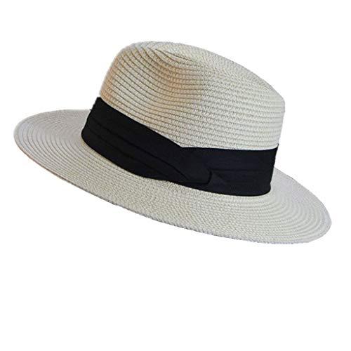 Unbekannt Faltbarer Paar flachen Strohhut, Panama Hut, Strandurlaub Hut (Color : Off-White) (Krempe Stroh-hut Flachen)