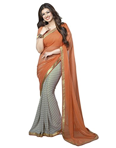 Sarees (Finix Fashion Women\'s Clothing Art Silk Embroidered Printed Designer Wear Low Price Sale Offer buy online in Georgette Material New Orange Color Printed Free Size Beautiful Saree Best Offer F