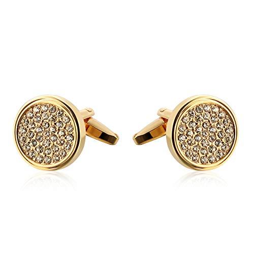Aienid gemelli acciaio forma rotonda con multi-drill oro gemelli per uomo