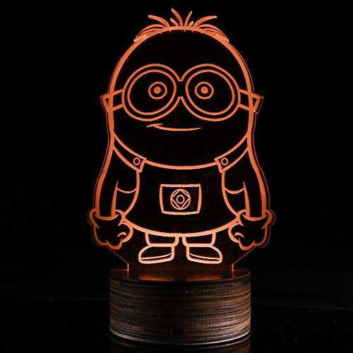 3D Lampe Optische LED Täuschung Nachtlicht,16 Farbwech mit Acryl Flat & Massivholz Base & USB-Ladegerät ändern Fernbedienung Schreibtisch lampe Tischleuchte (Stehender kleiner gelber Mann)