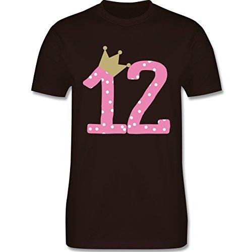 Geburtstag - 12. Geburtstag Krone Mädchen Zwölfter - Herren Premium T-Shirt Braun