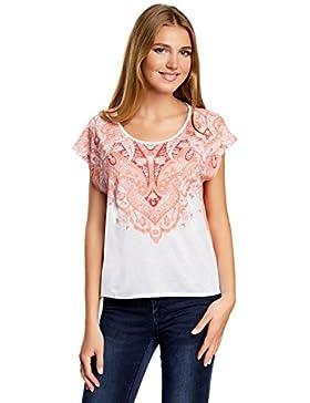 oodji Ultra Mujer Camiseta Estampada con Espalda de Gasa