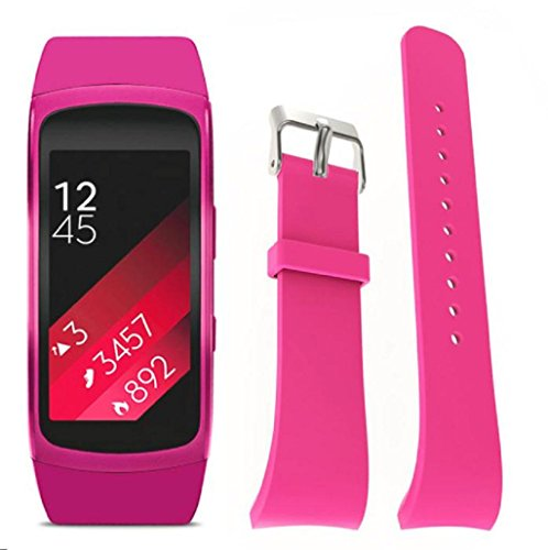 Sannysis Banda de reloj de silicón para Samsung Gear Fit 2 SM-R360 (Rosa)