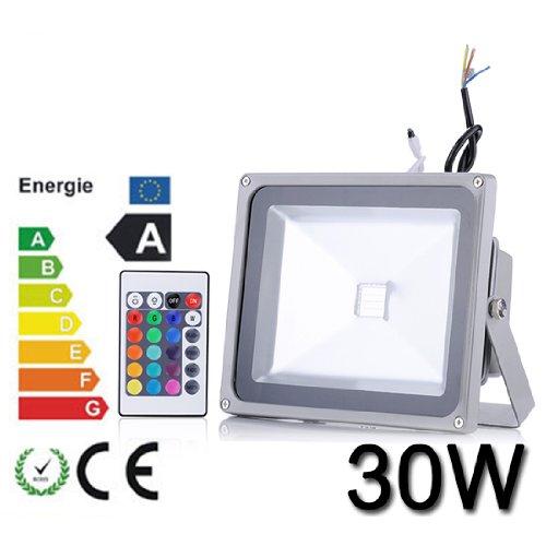Himanjie 10W 20W 30W 50W LED RGB Strahler Fluter Licht Flutlicht IP65/CE Spot Scheinwerfer mit Fernbedienung Farbwechsel Wandstrahler Außenstrahler (30 Watt)