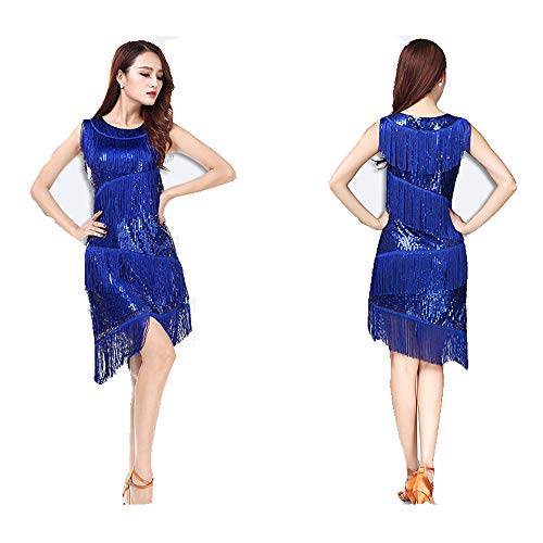 Glänzendes Tanzpartykleid für Frauen, Frauen Dancewear Pailletten Fransen Quasten Ballsaal Samba Tango Latin Dance Dress Wettbewerb Kostüme Great Gatsby Themed Party Swing Dress Quaste funkelnde Paill (Blue Zeitgenössischen Tanz Kostüm)