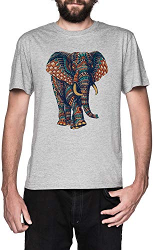 Florido Elefante Gris Camiseta Hombre Manga Corta Grey T-Shirt Men's