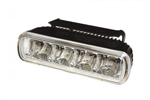 Motorrad LED-Tagfahrlicht mit 4 LEDs rechteckiges Aluminium Gehäuse schwarz mit Universalhalter E-geprüft
