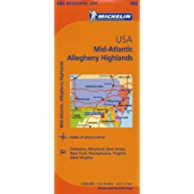 Michelin USA: Mid-Atlantic, Allegheny Highlands Map 582 (Maps/Regional (Michelin))