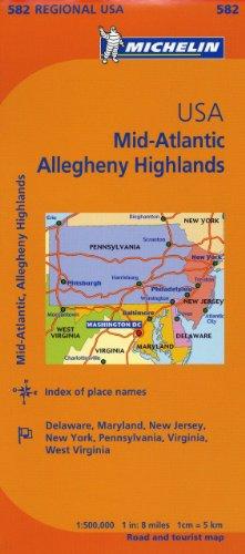 Michelin Map Mid-Atlantic Allegheny Highlands / Michelin Etats-Unis Atlantique centre Allegheny Highlands: 582 Regional USA