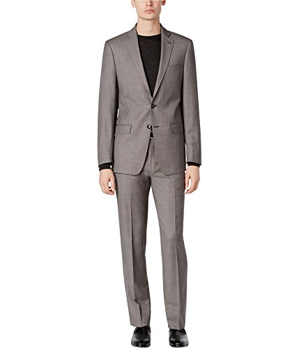 Calvin Klein Mens 2Pc Wool Suit with Flat Front Pant, 40S, Grey -