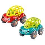 Spielzeugauto für Baby kinder, Pädagogische Spielzeug mit Sound, Jungen und Mädchen Weich Spielzeug Auto - Leicht zu Greifen(1Rot +1 Grün)