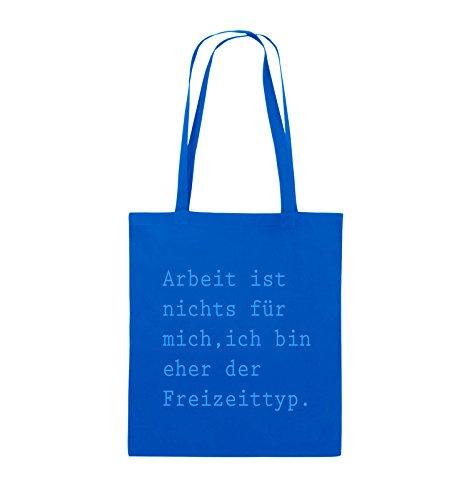 Comedy Bags - Arbeit ist nichts für mich, ich bin ehr der Freizeittyp - Jutebeutel - lange Henkel - 38x42cm - Farbe: Schwarz / Pink Royalblau / Blau